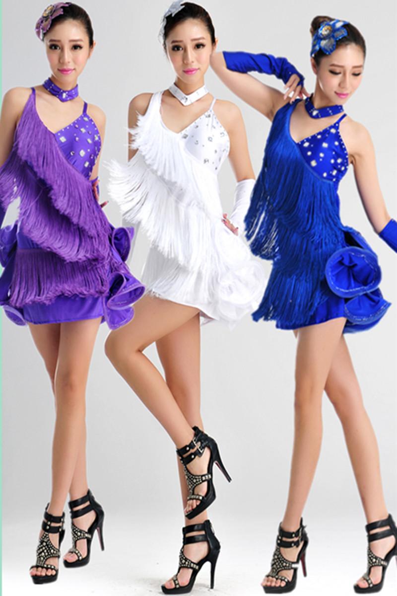 new female fashion Tuxedo Latin dance dress customize girl purple tassel sequins Rumba Samba tango dance competition costumes(China (Mainland))