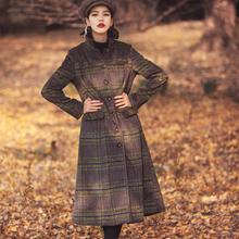 [Aporia.AS] Original Design 2016 winter spring new women vintage slim plaid long wool coat stand collar pocket parka MZ07042(China (Mainland))