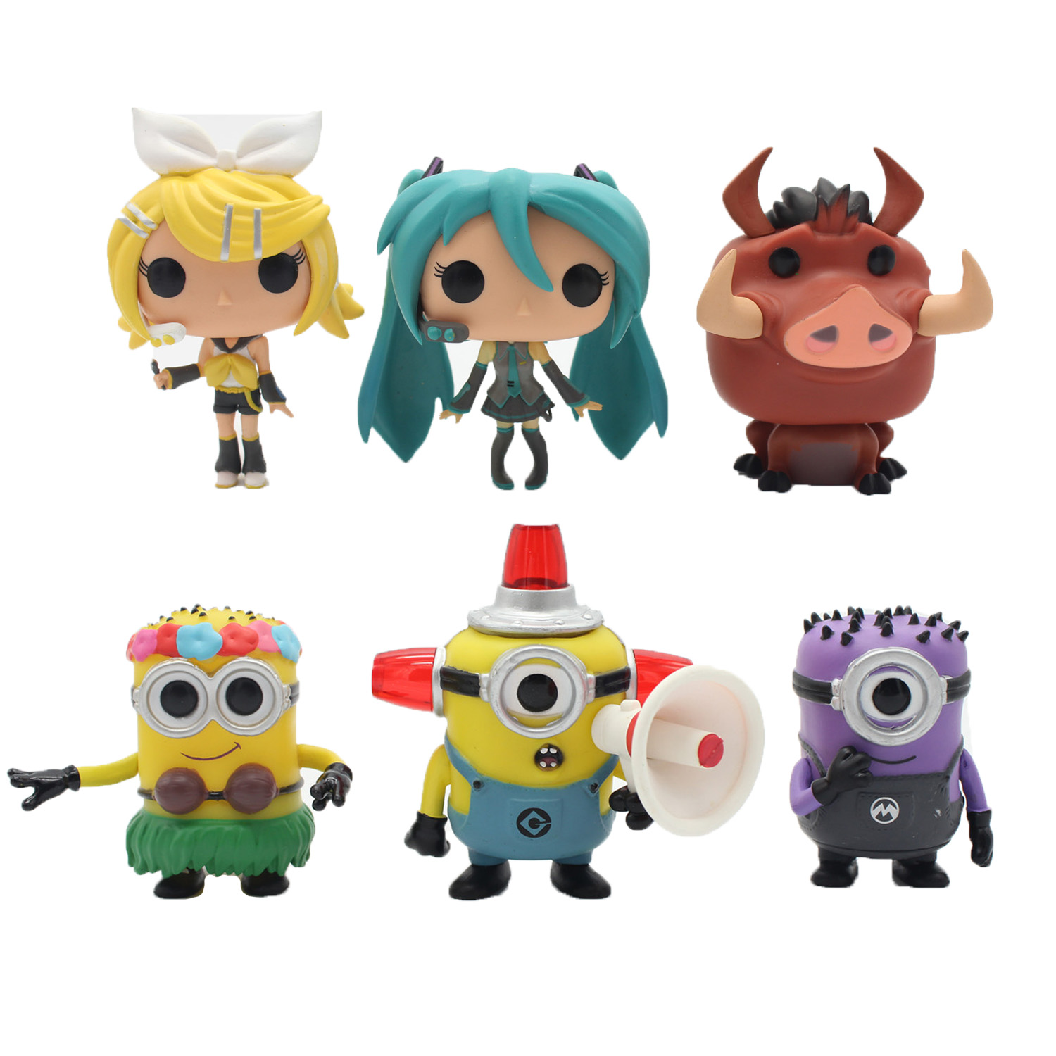 OPP 1pcs Funko Pop 7Style Minion 2015 Kevin Hello Kitty Lion King Pumbaa Natural Hula Hatsune Miku Rin/Len Vinyl Figure toy(China (Mainland))