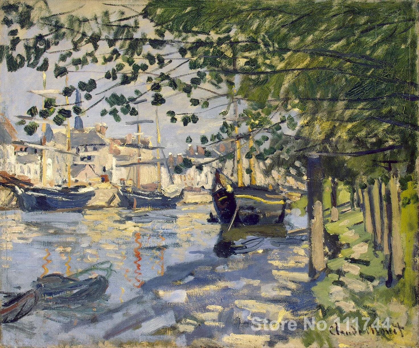 buy a painting,Seine at Rouen-Claude Monet,home decor,High quality,Hand-painted(China (Mainland))