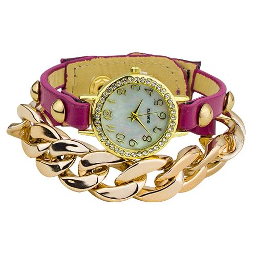 Popular Ladies Punk Style Multicolor Gold Plated leather Rhinestone Band Acrylic Chain Bracelet Dress Watch 5VAM 3Y3FD