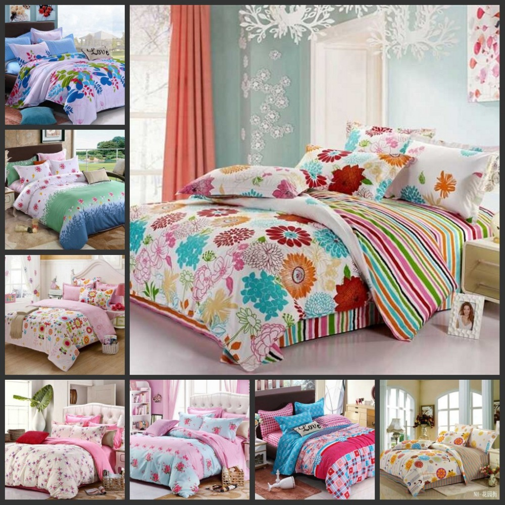 Various Colorful Beautiful Flowers Teen Girls Bedding Sets 4pcs Full Queen Size Children Bed Set