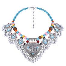 Collar de Los Encantos del Grano de la Turquesa de lujo Bohemio Mujeres Accesorios Collares Collar de Declaración Colgantes Collar de Joyería de La Vendimia(China (Mainland))