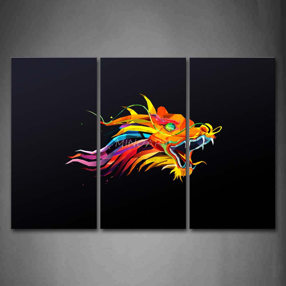 3 piece wall art painting like colorful dragon black for Colorful kitchen wall art