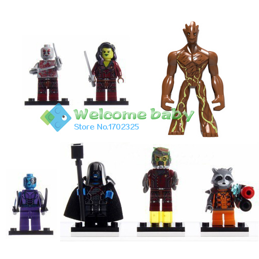 7pcs marvel super heroes minifigures Guardians of the Galaxy groot rocket star lord building blocks toys Compatible With Lego(China (Mainland))