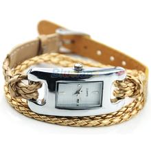 Min. 16 Fashion Ladies Womens Bracelet Charm Multi Layer Woven Leather Band Quartz Wrist Watch More Colors 028S