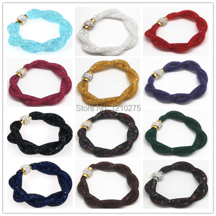 2015 limited new Stardust Bracelets Mesh Chain Inside Full Crystal Fashion bangle Magnetic Wrap kinds color women Bracelet - YwEdison Chen's store