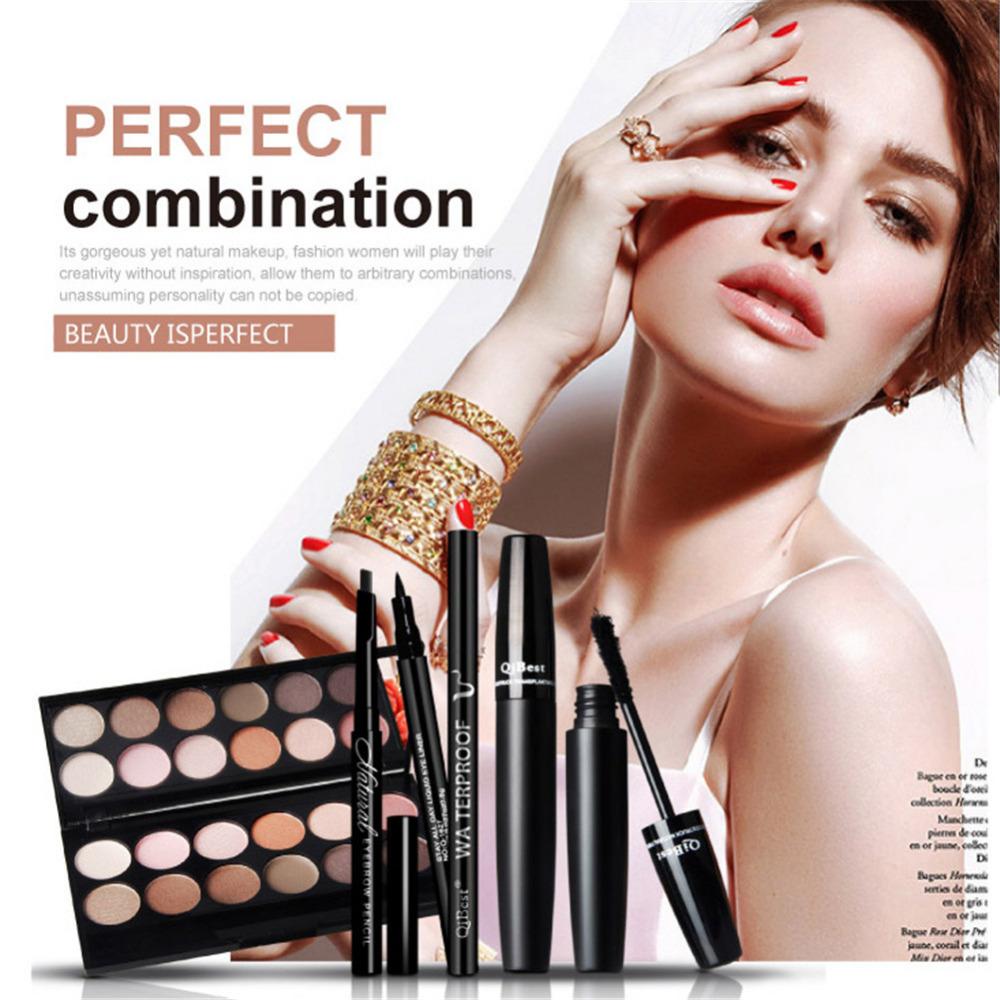 4 Pcs Eyes Makeup Set 12 Color Eyeshadow Palette+Eyebrow Enhancer Pencil+Black Mascara+Black Liquid Eyeliner Eyes Cosmetic Kit