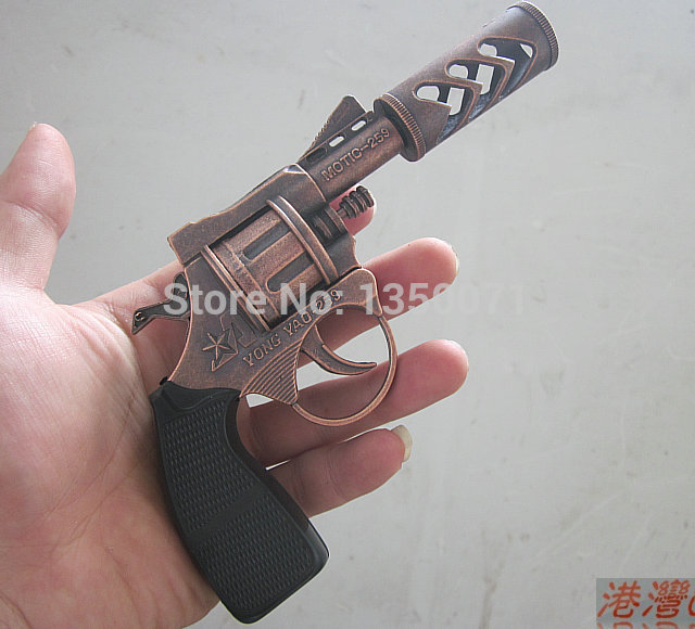 Free shipping 11cm Mini short metal decorative fireproof cap pistol gun toy gun(China (Mainland))