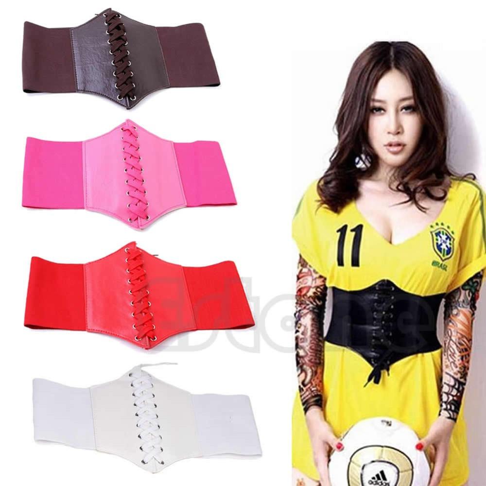 Sexy Women Girls Elastic Tied Waspie Belt Waist Cincher Corset Black Wide Band(China (Mainland))