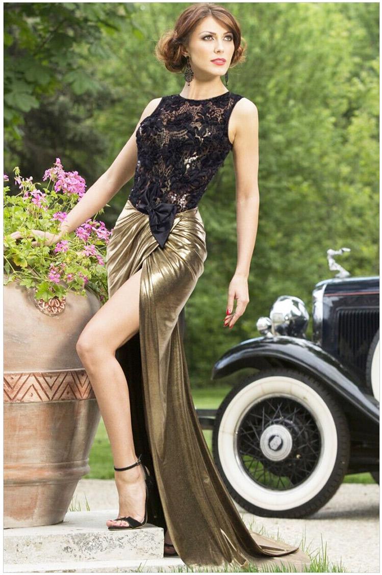 Plus Size Party Dresses Women Dress Dilameng Sexy Lace Stitching Neck Sleeveless Backless Dress 60477 Slit Hollow Golden Flash Одежда и ак�е��уары<br><br><br>Aliexpress