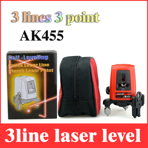 3 lines 3 point laser level AK455 cross leveling line 360 rotary horizontal and vertical lazer levels without battery LL21(China (Mainland))