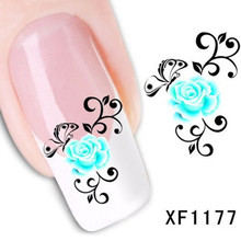 1Pcs Nail Art Water Sticker Nails Beauty Wraps Foil Polish Decals Temporary Tattoos Watermark + Free Shipping (XF1177)