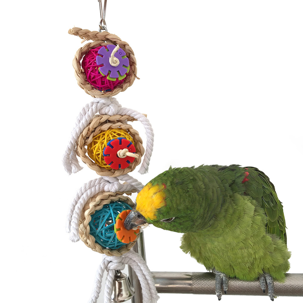 Pet Bird Parrot Parakeet Ball Cotton String Toy Cockatiel Conure Chew Bites Cages Craft Birds Toys with bell Newest 2016(China (Mainland))