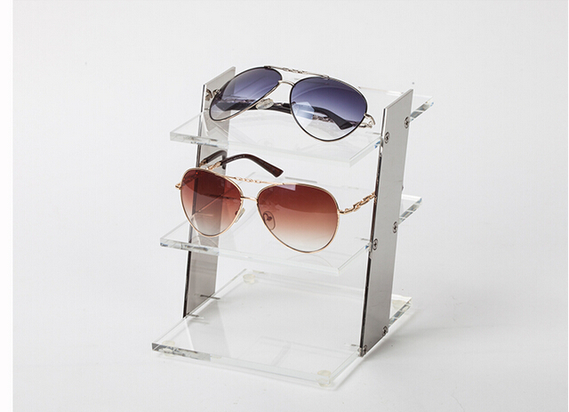 High-end Transparent 3-Tier Glasses Sunglasses Display Stand Holder Eyeglasses Store Display Rack(China (Mainland))