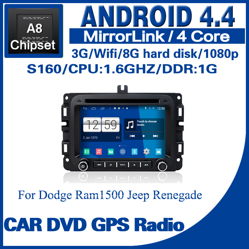 Android 4.4 car dvd player for Dodge Ram1500 Jeep Renegade S160 with dvd GPS radio BT TV USB SD 3G Wifi Free shipping 1258EA(China (Mainland))