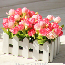 1 set High Quality Wooden fence vase + flowers rose and Daisy artificial flower set silk flowers home decoration Birthday Gift(China (Mainland))