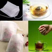 100Pcs/Lot Paper Empty Draw String Teabags Heal Seal Filter Paper for Herb Loose Tea Paper Tea Bags(China (Mainland))