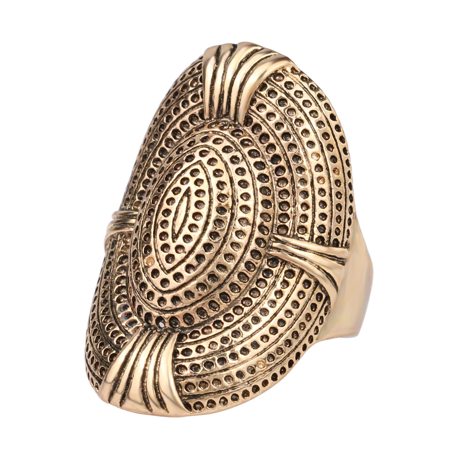 Fashion vintage punk style metal gold plated big ring rock Vintage style fashion rings