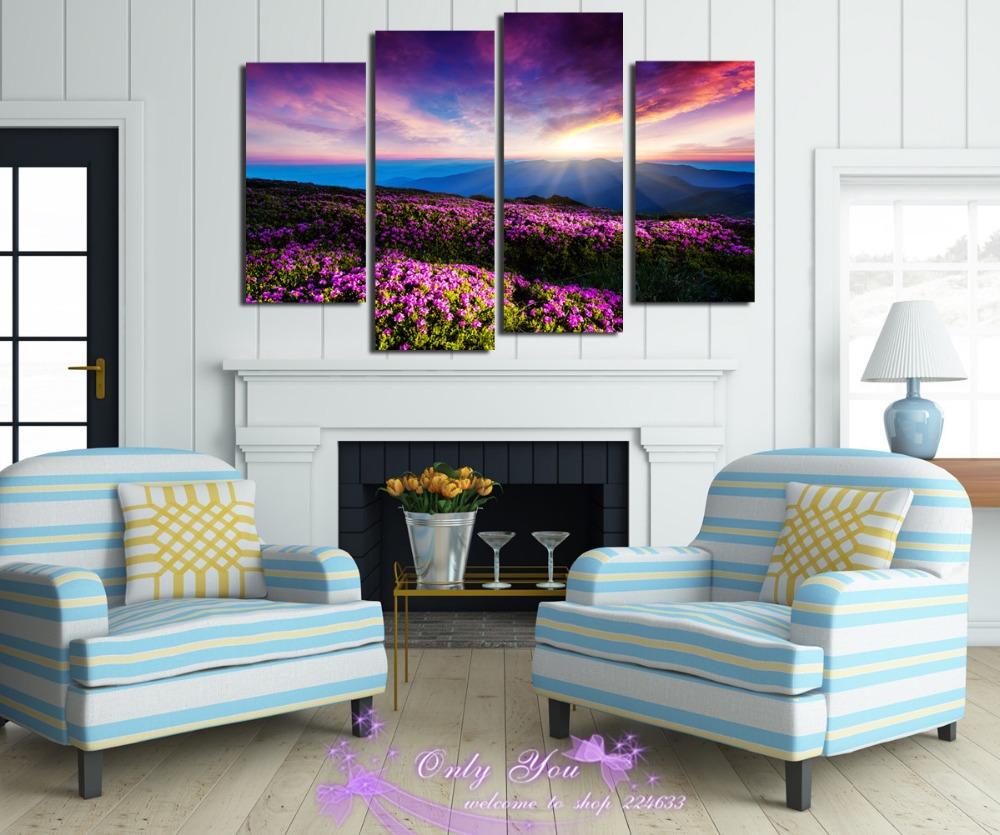 free shopping fleurs combiner plus belle paysage d coration murale toile home decor pour salon. Black Bedroom Furniture Sets. Home Design Ideas