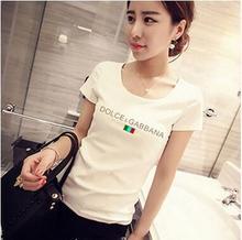 Fashion Ladies' stylish letter print T shirt cute black & white hi short sleeve shirts casual brand design tops DT225(China (Mainland))