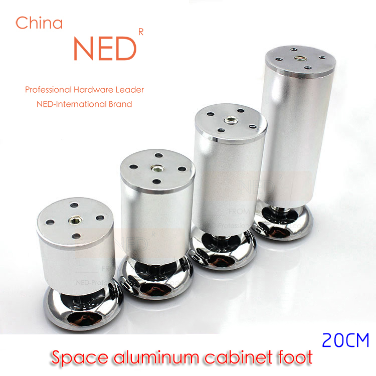 4PCS Brand NED Space Aluminum Furniture Legs 20CM Height Solid Table Cabinet Metal Foot Furniture Sofa TV Bed Feet With Screws(China (Mainland))