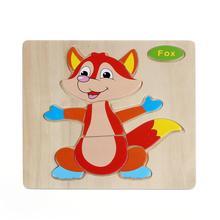 Wooden Cute Fox Puzzle Educational Developmental Baby Kids Training Toy