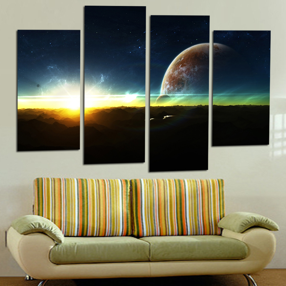 4 panel modern sunrise space universe picture painting. Black Bedroom Furniture Sets. Home Design Ideas