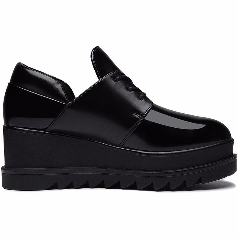 ซื้อ รองเท้าผู้หญิงMOOLECOLEผู้หญิงรองเท้าลำลองหนังPUผู้หญิงรองเท้าระบายอากาศส้นลิ่มรองเท้า6D562-3