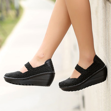 Handmade woven shoes women casual shoes breathable shallow mouth lazy loafers slip resistant thick crust flat shoes #B001(China (Mainland))