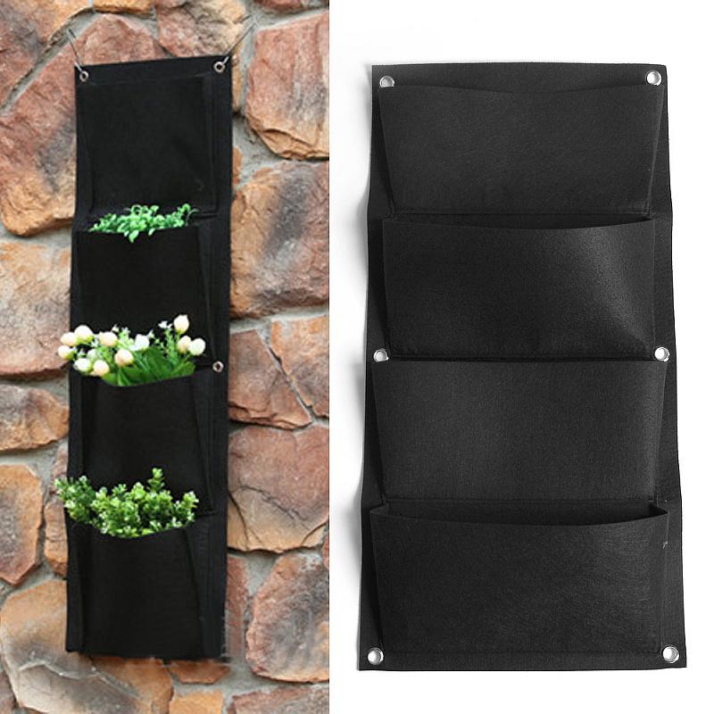 4 Pockets Black Indoor Outdoor Hanging Planter Bag Wall