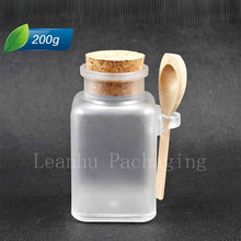 200g square refillable cream jar bath salt bottle mask powder bottle with cork with wooden spoon 20pc/lot(China (Mainland))