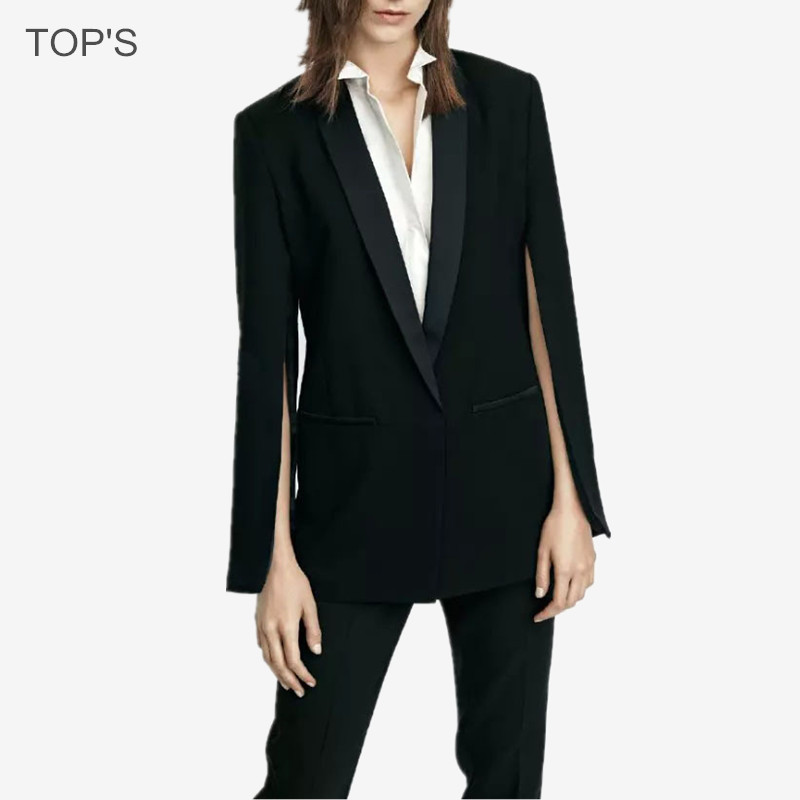 women 2016 new fashion blazer black suit jacket veste femme bleiser feminino cape blazer in. Black Bedroom Furniture Sets. Home Design Ideas