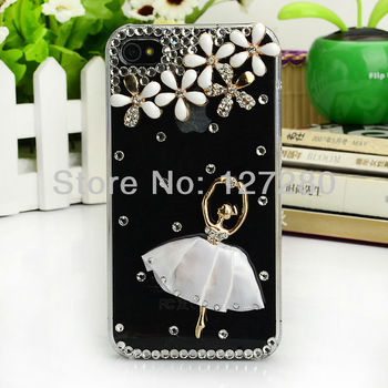 free shipping 2013 hot selling water drill rhinestone case mobile phone case for iphone 4 /4s / 5;for carrying case iphone 4