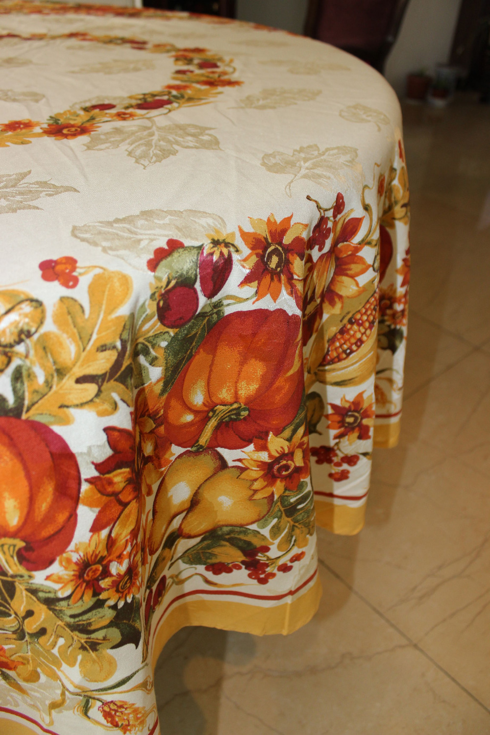 VEZO HOME new arrival printed floral plant pumpkin vines round rectangle square table cloth jacquard tablecloth home table decor(China (Mainland))