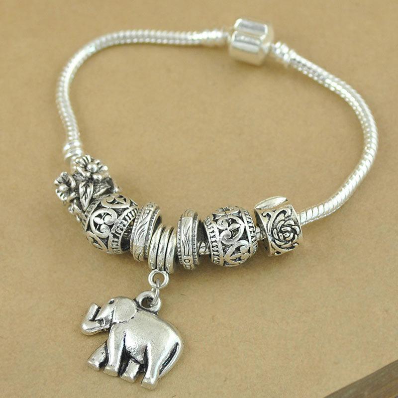 (Minimum order USD10) New Fashion Vintage Silver Elephant Beads Bracelets Women DIY Jewelry - Yumfeel (Mix Minimum Order USD10 store)