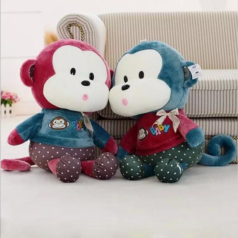 40cm Kawaii Stuffed Plush Animals Toy Lovely Monkey Kawaii Girls Gift Green & Red, Soft Toys for Children(China (Mainland))