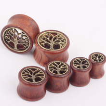 1pcs tree of life hollow red wood ear gauges piercing tunnels and plugs on ear body earring jewelry for man