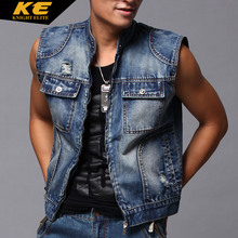 Men's summer vest denim vests sleeveless Denim outerwear male DENIM jackets slim waistcoat(China (Mainland))