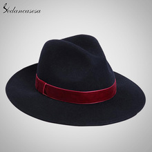 Sedancasesa Spring England Style Vintage Woman Mens Fedora Hat Felt Caps With Red Band Wholesale Black Women Felt Hats FW141967(China (Mainland))