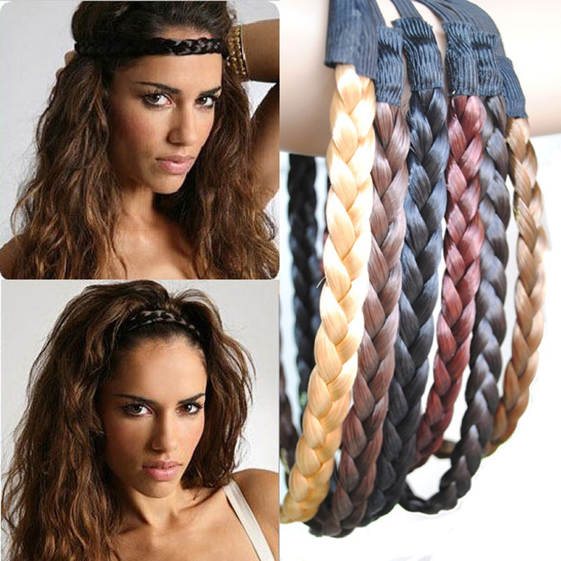 Wholesale 20pcs/lot Girls Hair Plaited Elastic Headband Braided Hair Band Synthetic Hair accessories PP08