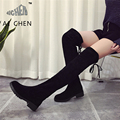 2016 Autumn Winter Over The Knee High Boots PU Leather Square Heels Slip On Martin Boots
