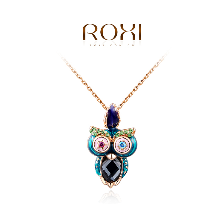2015 ROXI gold plated Owl Vintage necklaces,AAA zircon,fashion jewelry,Statement Necklace,Girls Birthday gift,wholesale(China (Mainland))
