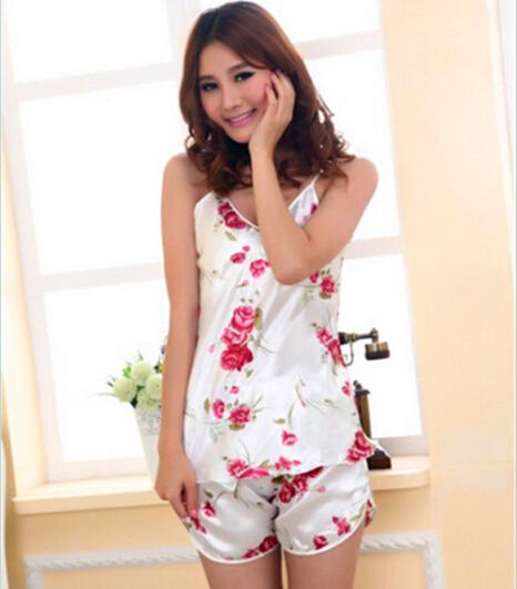 Women Sexy Lingerie Hot Strap Silk Lace Flower Pyjamas Sleepwear Shirts Shorts Underwear Nightwear Set