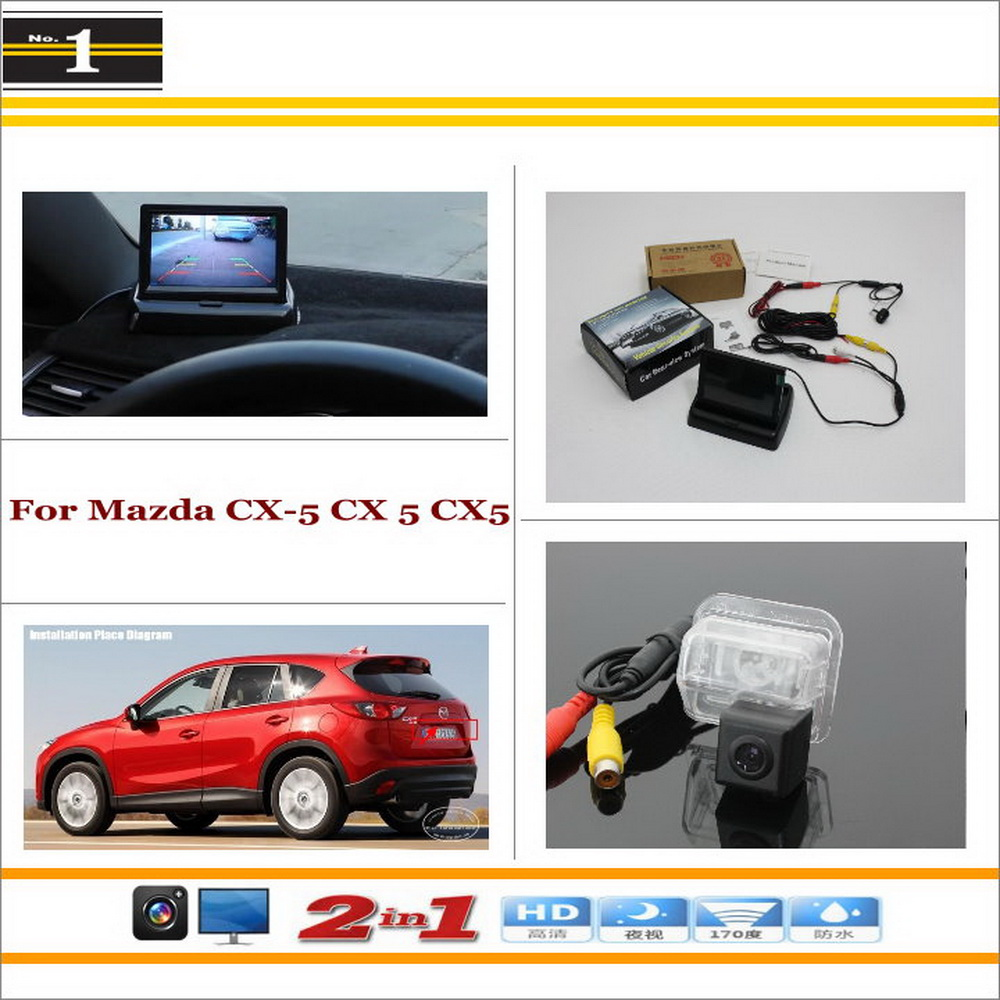 """Auto Back UP Reverse Camera + 4.3"""" Color LCD Monitor = 2 in 1 Rearview Parking System - For Mazda CX-5 CX 5 CX5(China (Mainland))"""