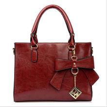 fashion High quality genuine PU leather women handbag for women shoulder bags bowknot Brand women messenger