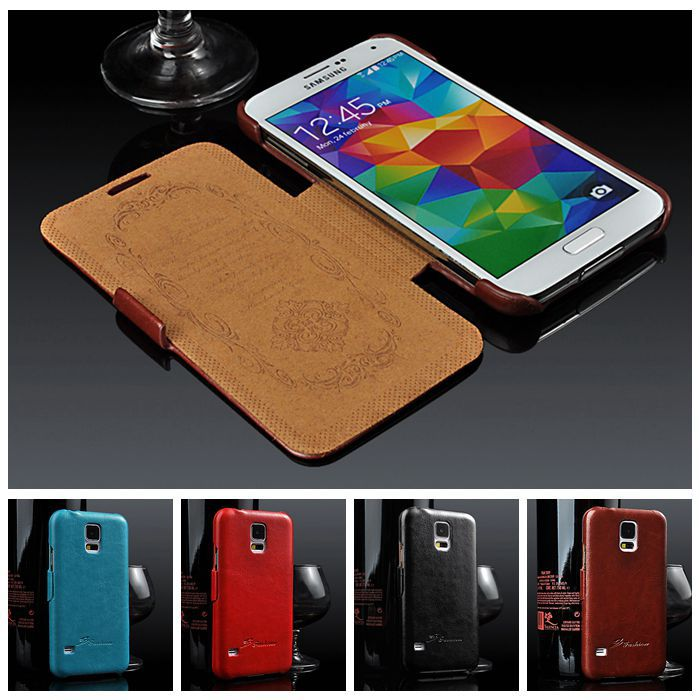 New Arrival Premium PU Leather Case for I9600 Samsung Galaxy S5 Flip Styles Luxury Cover For Galaxy S5 Cases brown black blue(China (Mainland))