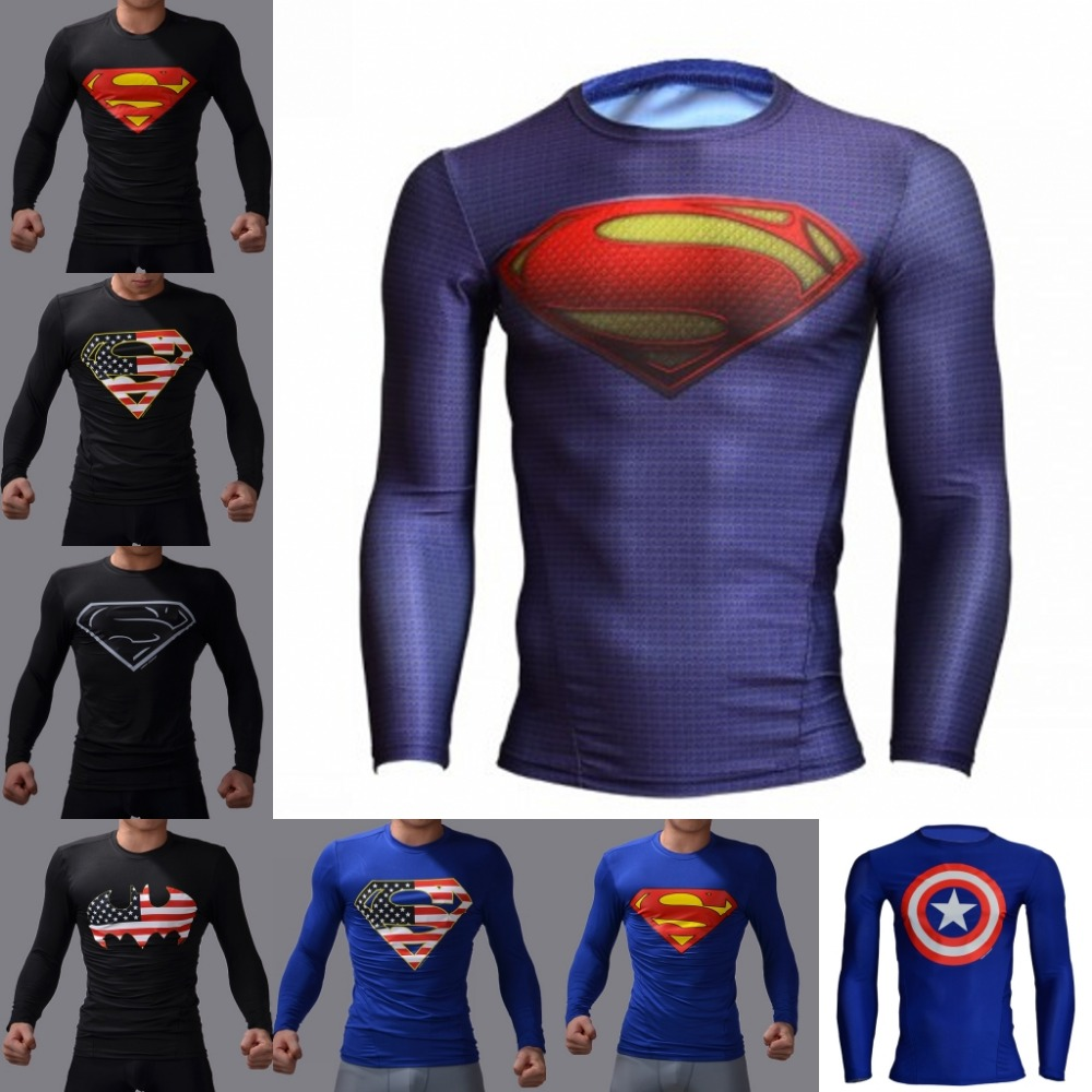 2016 New Fitness Men Long Sleeve Running Sports t shirt Men Thermal Muscle Bodybuilding Gym Compression Tights Shirt(China (Mainland))