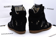 Isabel Marant shoes beige black print fashion sneakers 2015 new style womens invisible wedge high heel
