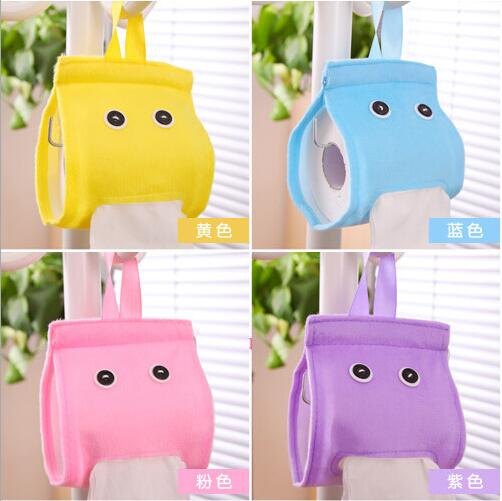 2016 New Cartoon Home Bathroom Car Living Room Hanging Roll Paper Towel Colorful Napkin Tissue Box Holder Pouch Bag Case Pumping(China (Mainland))